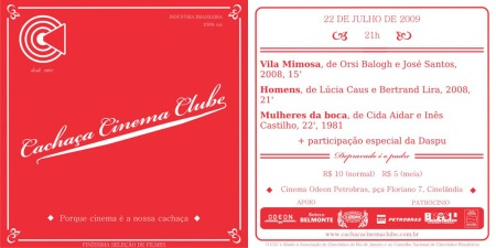Flyer do Cinema Cachaça Clube